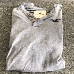Hollister Men's Casual Long Sleeve Shirt Grey